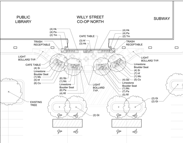 Willy North blueprints for outdoor patio.