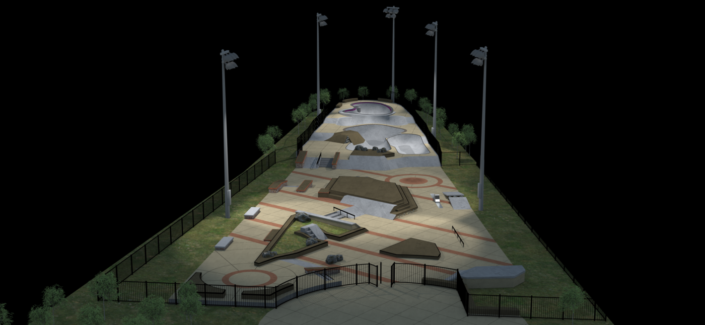 Rendering of skate-park at night