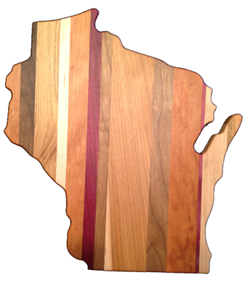 Wisconsin-shaped cutting board from Jewell Hollow Woodcraft. Made in USA. | Willy Street Co-op