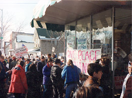 War protest outside store
